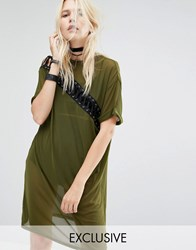 Story Of Lola T Shirt Dress With Lace Up Detail In Mesh Khaki Green