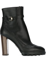 Tod's Brogue Detail Ankle Boots Black