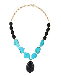 Panacea Turquoise And Black Agate Pendant Necklace