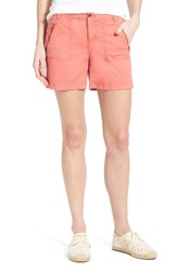 Women's Caslon 'Addison' Zip Pocket Shorts Coral Spice