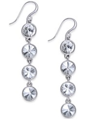 Charter Club Bezel Set Crystal Linear Earrings Only At Macy's Clear Silver