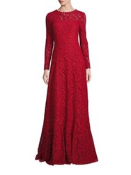 Escada Long Sleeve Lace Gown Rosso