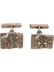 Tobias Wistisen Textured Cufflinks Metallic