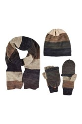Muk Luks Ombre Knit Beanie Scarf And Faux Fur Trim Flip Mittens Set Multi