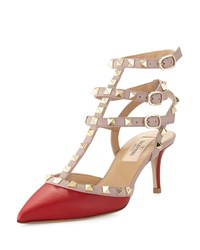 Valentino Rockstud Colorblock Leather Mid Heel Pump Red Blush