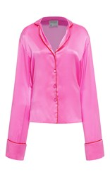 Cynthia Rowley Silk Tie Night Shirt Pink