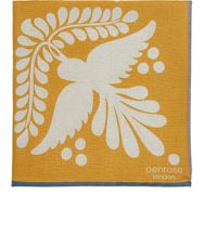 Penrose London Bird Tile Print Dotterel Pocket Square Yellow