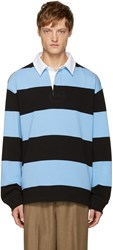 Alexander Wang Blue And Black Striped Polo