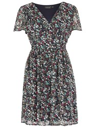 Pussycat Floral Crossover Neck Dress Navy