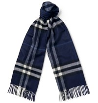 Burberry Checked Cashmere Scarf Blue