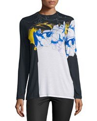 Prabal Gurung Long Sleeve Abstract Floral Print T Shirt Multi Floral Lace