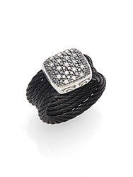 Alor Diamond 18K White Gold And Stainless Steel Coil Ring Black