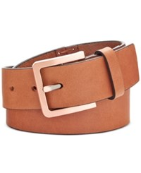 Calvin Klein Hand Stitch Lace Up Leather Belt Whiskey Brushed Copper
