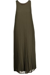 Enza Costa Pleated Chiffon Midi Dress Army Green