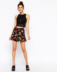 Motel Andrea Button Through Mini Skirt In Winter Roses Print Red