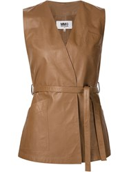 Maison Martin Margiela Mm6 Maison Margiela Leather Wrap Top Brown