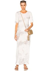 Raquel Allegra Short Sleeve Maxi Dress In White Ombre And Tie Dye White Ombre And Tie Dye