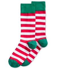 Hot Sox Holiday Dog Crew Socks Red Holiday Stripe