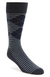 Men's Nordstrom Men's Shop 'Cushion Foot' Argyle And Stripe Socks Blue 3 For 30 Navy Heather
