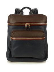 Paul Smith Colour Block Leather Piped Rucksack Brown Multi