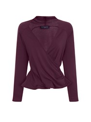 Hotsquash Crossover Top In Thinheat Fabric Damson