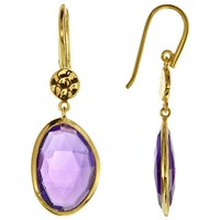 John Lewis 18Ct Gold Plated Amethyst Double Drop Earrings Gold Purple