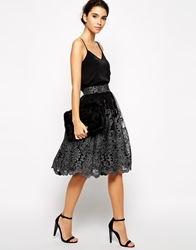 Chi Chi London Premium Metallic Lace Full Midi Skirt Black