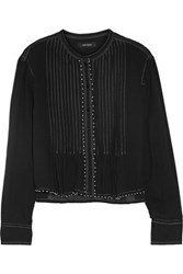 Isabel Marant Pelona Beaded Pleated Cotton Gauze Blouse Black