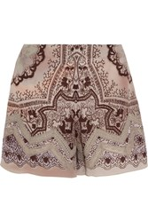 Etro Lace Trimmed Printed Silk Crepe Shorts Purple