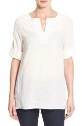 Women's Chaus Lace Trim Linen And Cotton Tunic New Ivory