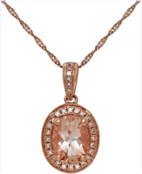 Macy's Morganite 1 1 5 Ct. T.W. And Diamond 1 6 Ct. T.W. Pendant Necklace In 14K Rose Gold Pink