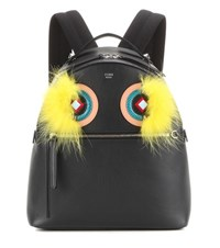 Fendi Snakeskin And Fox Fur Trimmed Leather Backpack Black