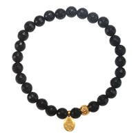 Satya Jewelry Black Onyx Hamsa Stretch Bracelet Gold