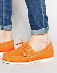Timberland Classic Knitted Boat Shoes Orange