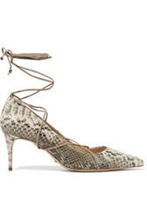Schutz Lace Up Snake Effect Leather Pumps Light Gray