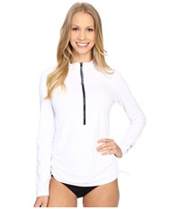 Carve Designs Cruz Rash Guard White Anchor Stripe Women's Swimwear