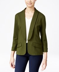 Say What Juniors' Shawl Collar Knit Blazer Kombu Green