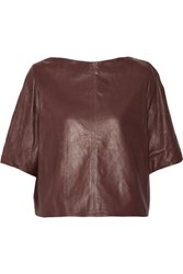 Isabel Marant Feza Leather Top Burgundy