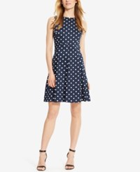 American Living Polka Dot Print Sateen Dress Navy