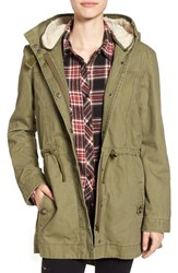 Women's Bp. Cotton Anorak With Faux Fur Lined Hood