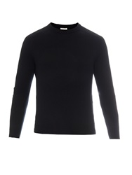 Saint Laurent Leather Elbow Patch Cashmere Sweater