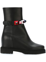 Fendi Pyramid Stud Ankle Boots Black