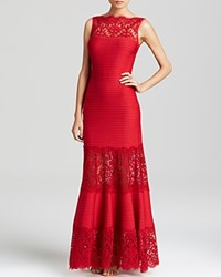 Tadashi Shoji Boat Neck Pintucked Gown Deep Red