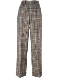 Comme Des Garcons Junya Watanabe Tartan Check Wide Leg Trousers Brown