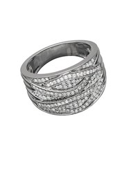 Lord And Taylor Sterling Silver Pave Banded Diamond Ring 0.50 Tcw