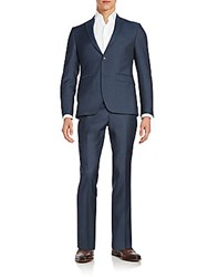 Saks Fifth Avenue Trim Fit Wool Suit Blue