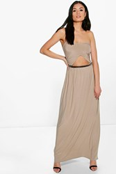 Boohoo Front Cut Out Bandeau Maxi Dress Taupe