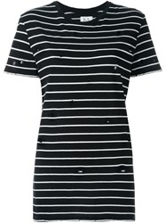 Zoe Karssen Distressed Striped T Shirt Black