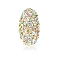 Cielle London Spring Leaves Statement Cocktail Ring Blue Gold Green