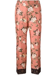 For Restless Sleepers Cropped Floral Print Trousers Pink And Purple
